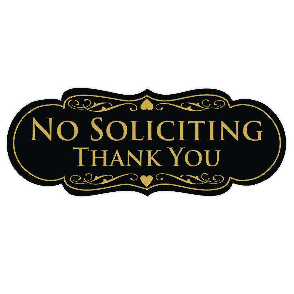 All Quality Designer NO SOLICITING Thank You Sign - Black/Gold Large