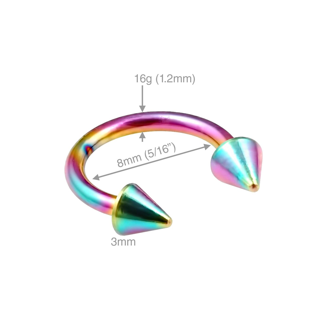 Amazon.com: 16 G Captive Bead anillo Cartílago aro Piercing ...