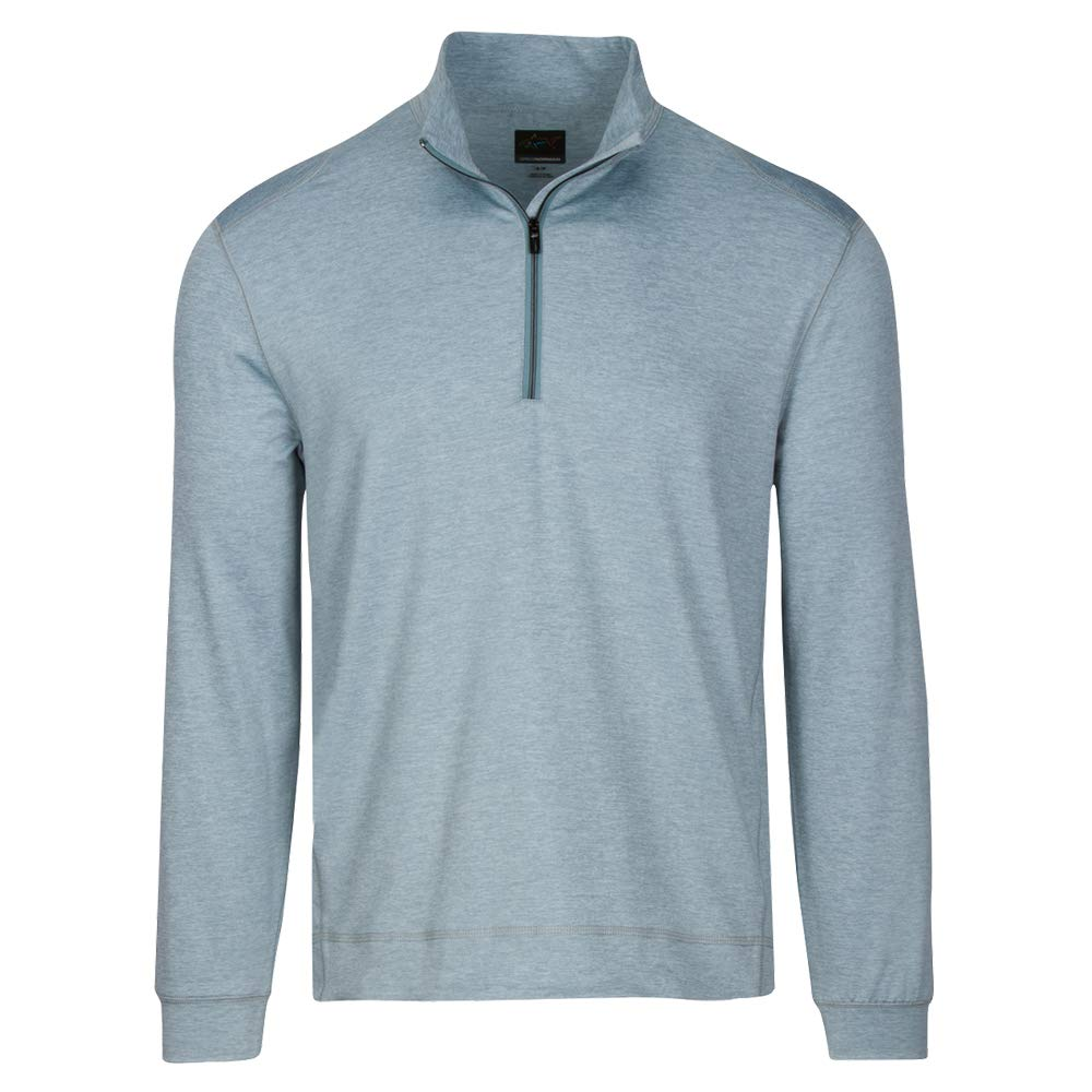 Greg Norman Men's Break Heather Long Sleeve 1/4-Zip Mock, Blue Haze Heather, XX-Large by Greg Norman