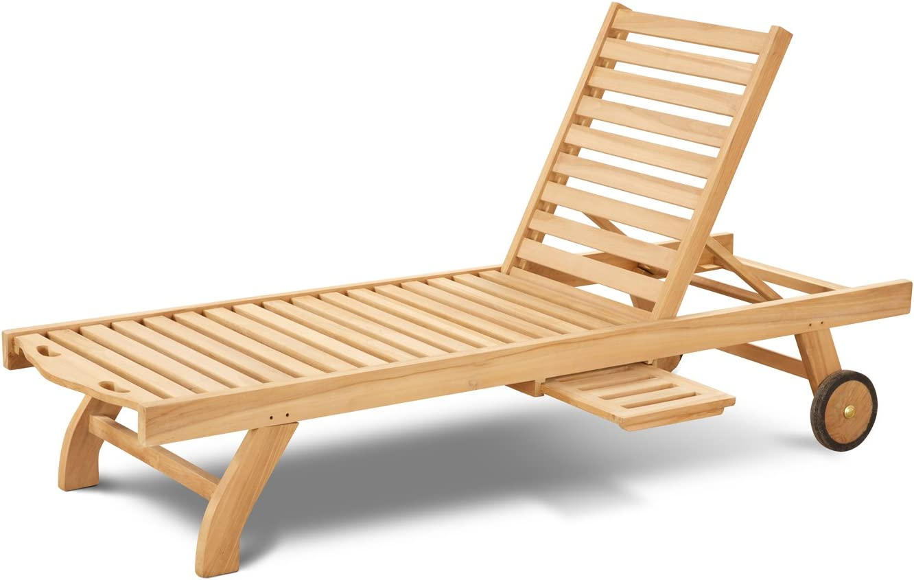 St Mawes Teak Sun Lounger with Pull Out Side Table - Wooden Garden