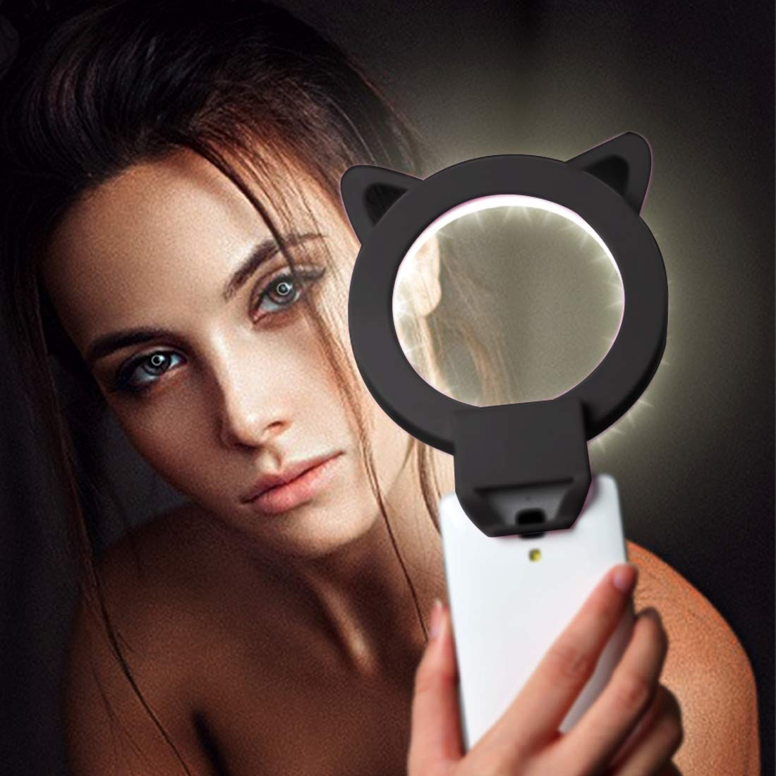LED Light Live Self-Timer Ring Flash Fill Light RK13 Anchor Live Broadcast Cute Artifact Cat Ears Shape 3 Levels of Brightness Beauty Fill Light with 36 LED Light, for iPhone, Galaxy, Huawei, Xiaomi,