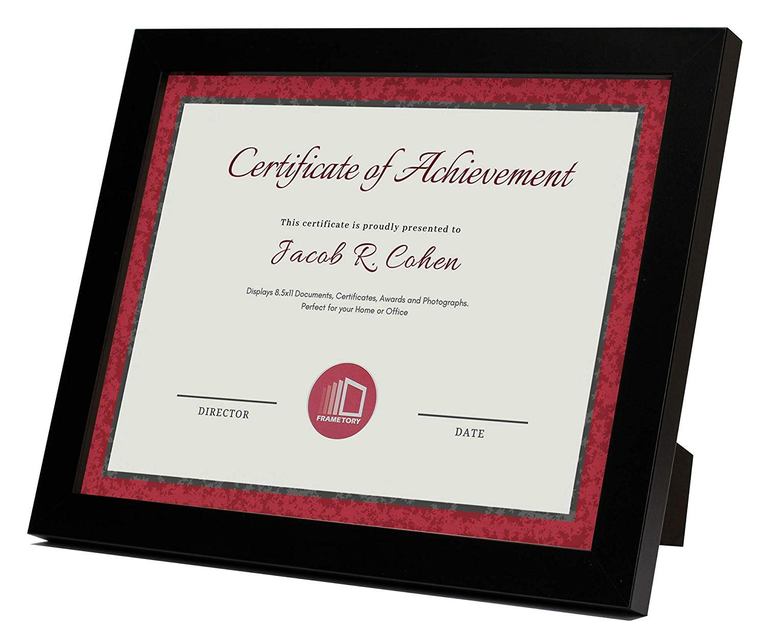 Frametory, Document/Diploma Table-Top Frame for 8.5x11 Picture & Real Glass (Black)