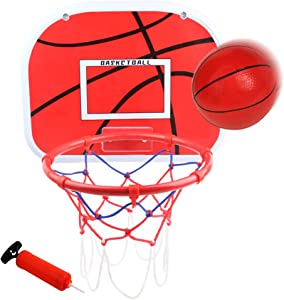 """Door Basketball Hoop (15""""x11.5"""") Mini Wall Basketball Goal Backboard Rim Indoor Toys Set for Toddlers Kids Child Boys Girls Sport with Ball Pump for Age 3 4 5 6 7 8 Year Old"""