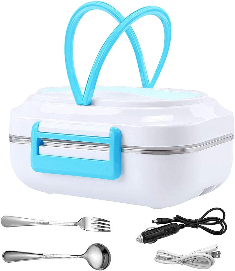 Electric Heating Lunch Box Car Home Office Travel Use Food Warmer Portable Bento Meal Heater with Removable 304 Stainless Steel Container 110V 12V Dual Use