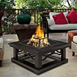 Brown Tile Outdoor Wood Burning Fire Pit | Enjoy a Bonfire in the Comfort of Your Backyard! Comes Complete with Spark Screen, Log Poker Tool and Vinyl Storage Cover
