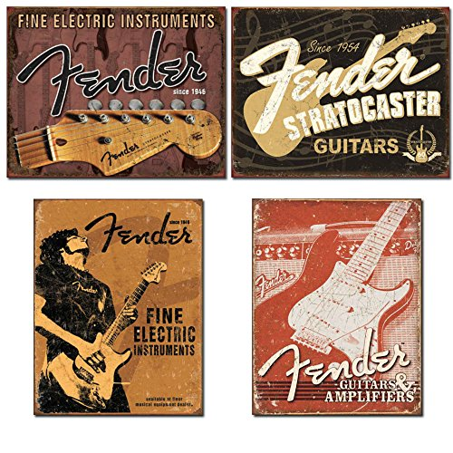 Fender Guitar Sign Bundle - Fine Electric Instruments with Headstock, Stratocaster, Fine Electric Instruments with Man and Weathered Guitars & Amplifier Tin (Guitar Sign)
