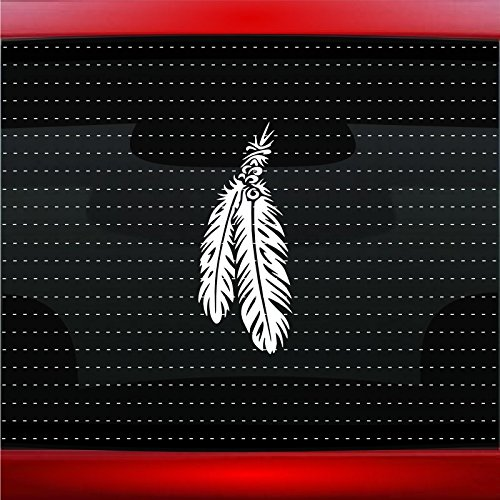 Feather #6 Indian Native American Car Sticker Truck Window Vinyl Decal COLOR: BLACK -