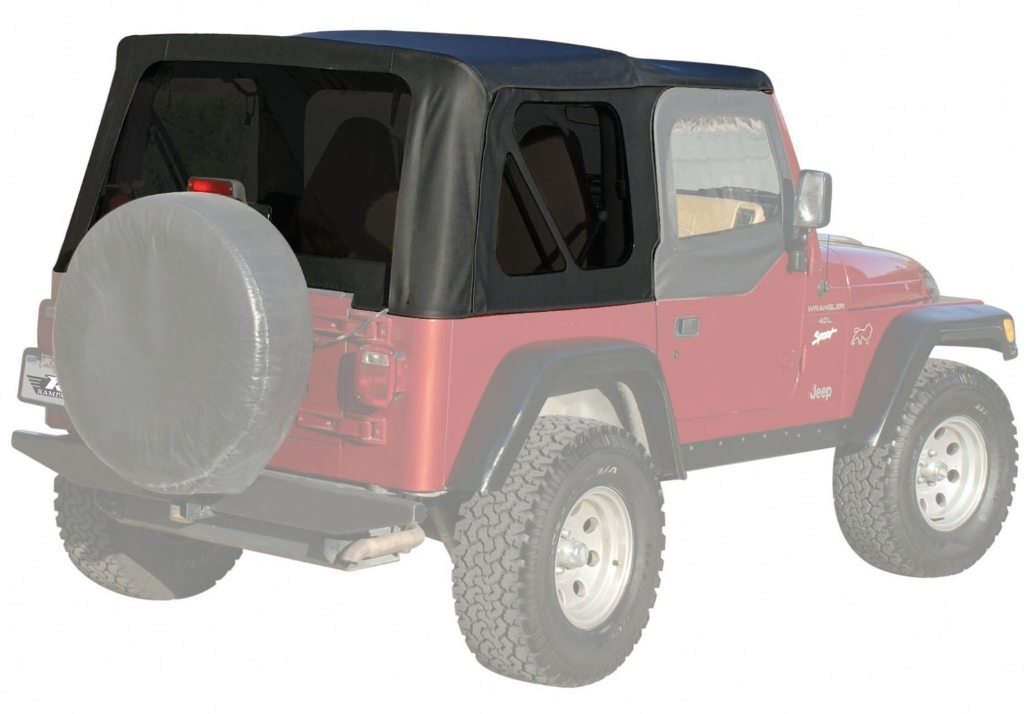 Amazon.com: RAMPAGE PRODUCTS 99335 Factory Replacement Soft Top for 1997-2006  Jeep Wrangler with Full Steel Doors, Black Diamond w/Tinted Windows: ...