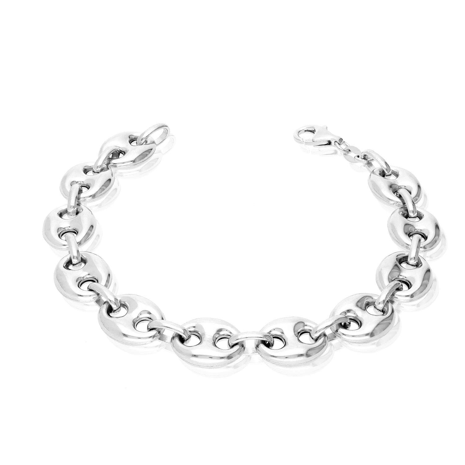 Italy 925 Sterling Silver 12mm Puffed Anchor Mariner Link Chain Bracelet 8.5'' by WJD Exclusives (Image #4)
