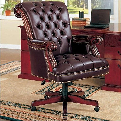 Bowery Hill Traditional Executive Chair in Burgundy