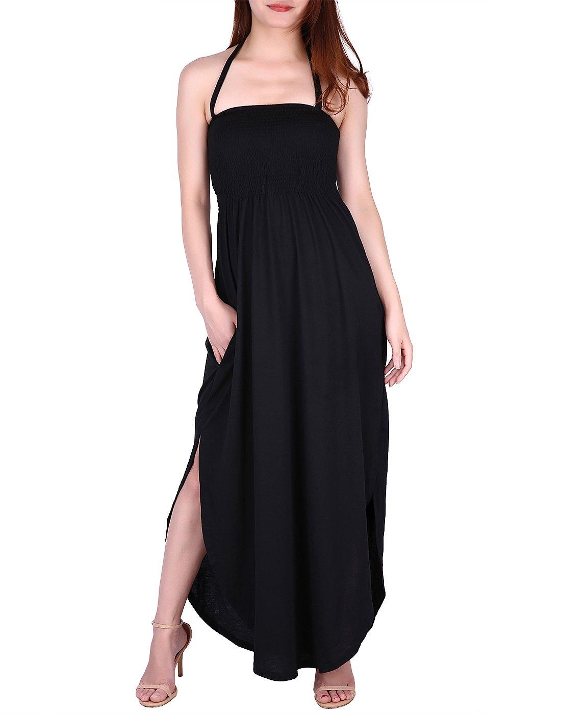 HDE Maxi Dress Plus Size - Tie Halter Neck Tube Top with Side Slit and Pockets (Black, Small)