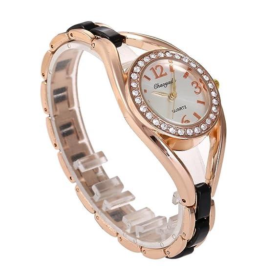 YAZILIND Cuarzo Reloj de Pulsera con Incrustaciones de Diamantes de imitación Grande Reloj de Titanio Correa de Acero (Negro): Amazon.es: Relojes