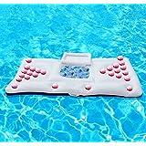 weiß 180 * 90cm PVC Sommer-Schwimmen-aufblasbares schwimmendes Bier-Tabellen-Reihen-Wasser-Bett für Swimmingpool
