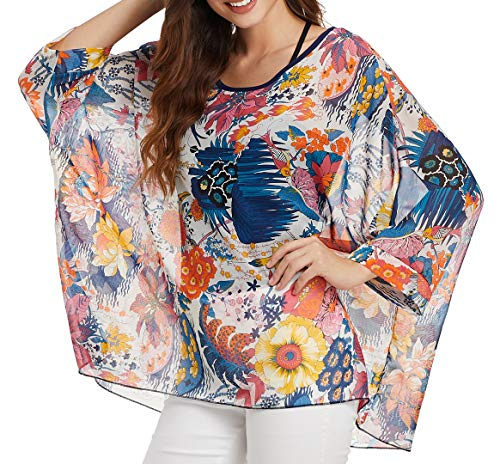 Qunsia Women Chiffon Blouse Floral Batwing Sleeve Beach Cover Up Loose Tunic Shirt Tops (4367)
