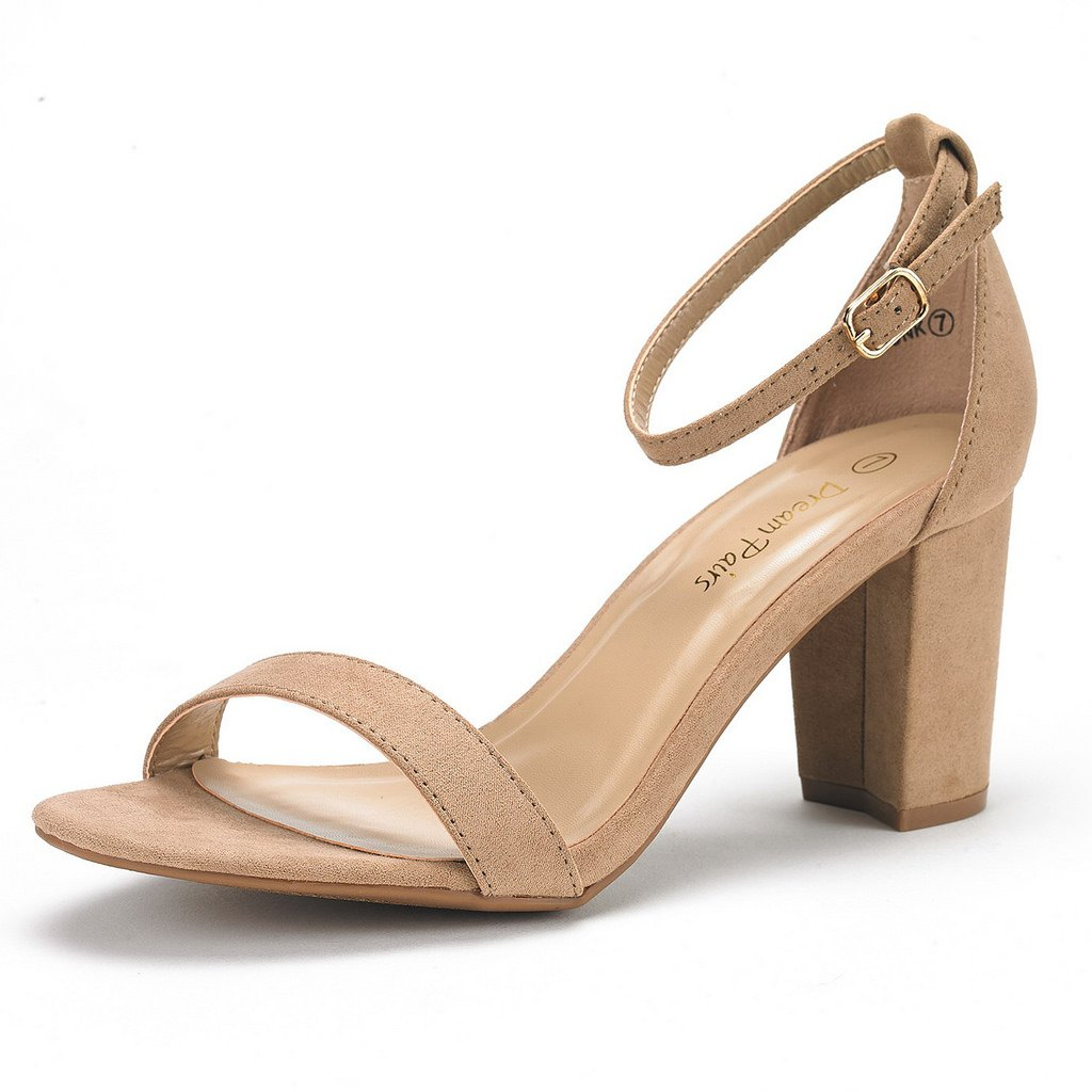 DREAM PAIRS Women's Chunk Nude Suede Low Heel Pump Sandals - 8 M US by DREAM PAIRS
