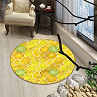 Yellow Round Rug Kid Carpet Lemon Orange Lime Fruit Citrus Round Cut Circles Big and Small PatternOriental Floor and Carpets Yellow White and Green