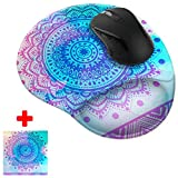 FINCIBO Unicorn Mandala Comfortable Wrist Support Mouse Pad for Home and Office with Matching Microfiber Cleaning Cloth for Computer and Mobile Screens