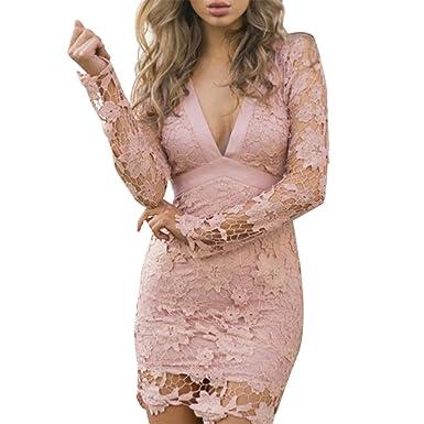 b2253a6fdd40 LAEMILIA Abendkleid Damen Elegant Spitze Kleider Festlich V-Ausschnitt  Langarm Cocktailkleid Rückenfrei Mit Bowknot Etuikleider