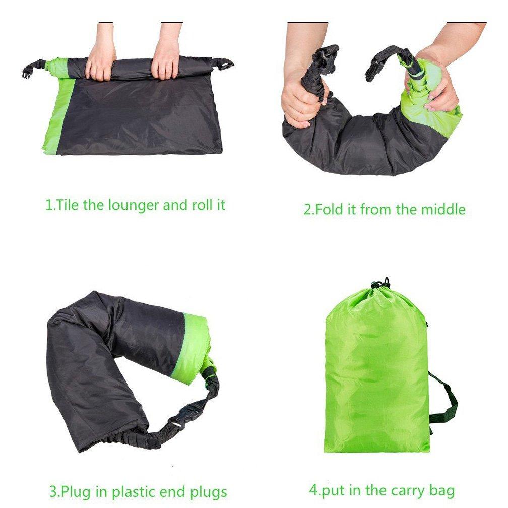 bolso inflable port/átil de la haba playa Ruidom Sof/á inflable al aire libre del amortiguador del aire del sof/á impermeable del amortiguador de aire sof/á inflable para el viaje acampando Verde