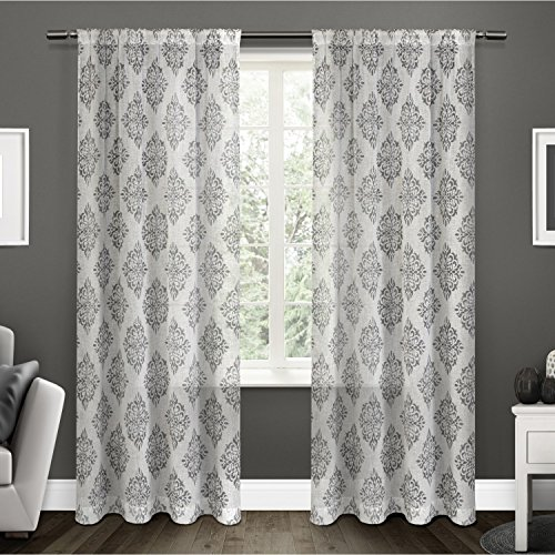 Exclusive Home Curtains Nagano Medallion Belgian Linen Window Curtain Panel Pair with Rod Pocket, 54x108, Black Pearl, 2 Piece ()