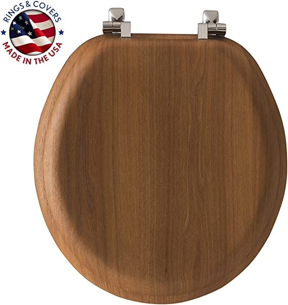 Mayfair Natural Oak Veneer Toilet Seat With Chrome Hinges Round 9601cp Toilet Seats Amazon Canada