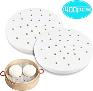 Faxco 400 Pcs 7 Inch Air Fryer Liner, Non-stick Steamer Mat, Bamboo Steamer Liners, Round Perforated Parchment Paper