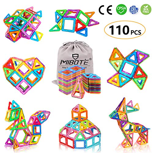 (MIBOTE 110 PCS Magnetic Building Blocks Educational STEM Toys Imagination Magnet Tiles Toddler Building Blocks Set for Kids - All of Them are Strong)