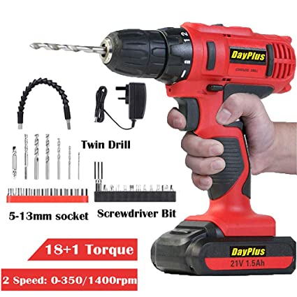 Cordless Drill Combi Screwdriver 21V Lithium Ion Dual Speed Forward /& Reverse UK