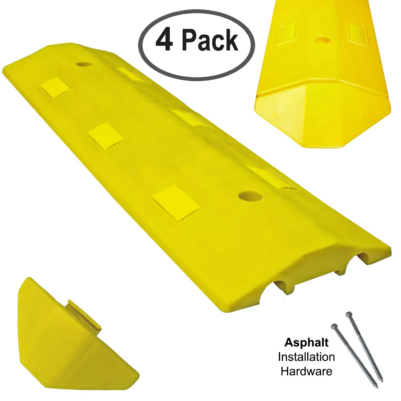 Electriduct Ultra Light Weight Economy Speed Bump - Yellow - 4 Pieces (12 Feet) - Asphalt by Electriduct (Image #1)