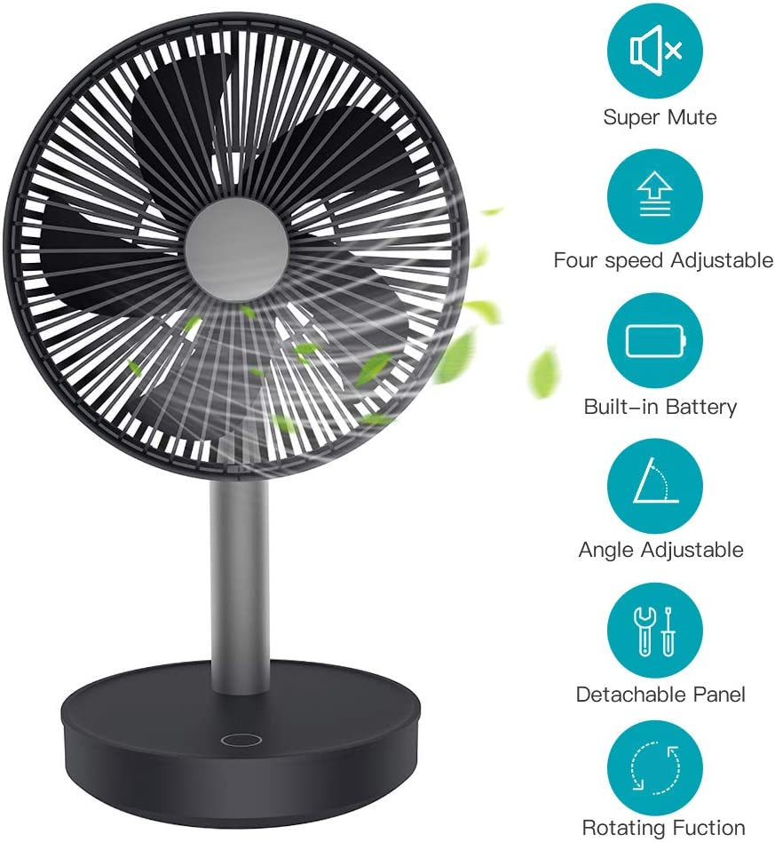 MANLI Quiet USB Desk Fan, Small Mini Oscillating Table Fan 4 Speeds 5 Blades Energy Saving 15h Continuous Use 4000mAh Mobile Phone Chargeable
