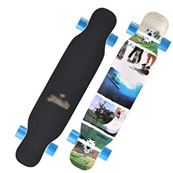 DUWEN Scooter Chicas Adultas De Cuatro Ruedas Skateboard Road Brush Street Doble Superior Tablero de Baile para niños Tablero Largo Principiante Scooter ...
