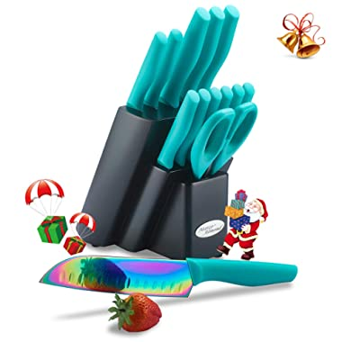 Marco Almond KYA27 Rainbow Titanium Cutlery Knife Set, Kitchen Knives Set with Wooden Block, Rainbow Effects with Titanium Coating,Chef Quality Perfect For Home & Pro Use, Best Gift,14 Piece Turquoise