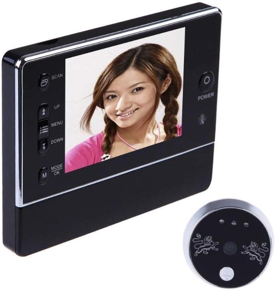 3.5 LCD digital inalámbrico timbre de la puerta 120 grados Mirilla interfone visor de la cámara DVR de la visión nocturna de 3 X zoom Pantalla LCD timbre de la puerta (Color : Black)