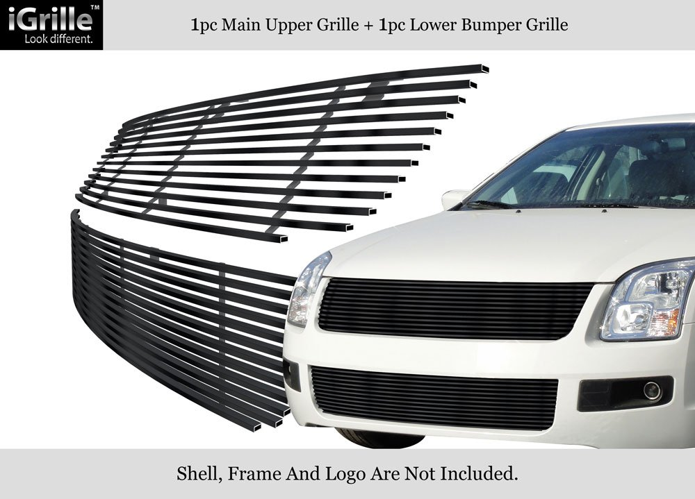 Amazon.com: 06-09 Ford Fusion Billet Grille Grill Combo Upper+ ...
