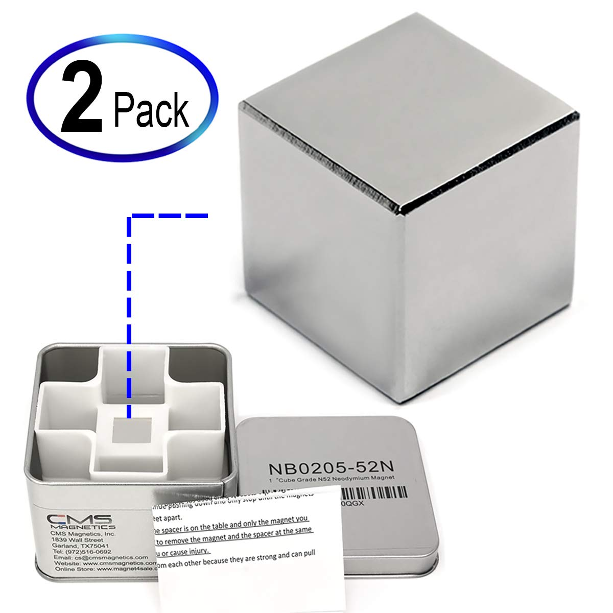 1'' Cube Neodymium Rare Earth Magnets - Stud Finders & Sciences - 2 Pieces and Packed in Two Individual Tin Boxes