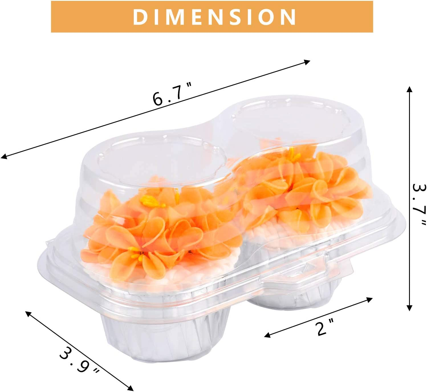 Plastic Cupcake Containers 2ct Cupcake Boxes Cupcake Carrier with Connected Airtight Dome Lid 50 PACK