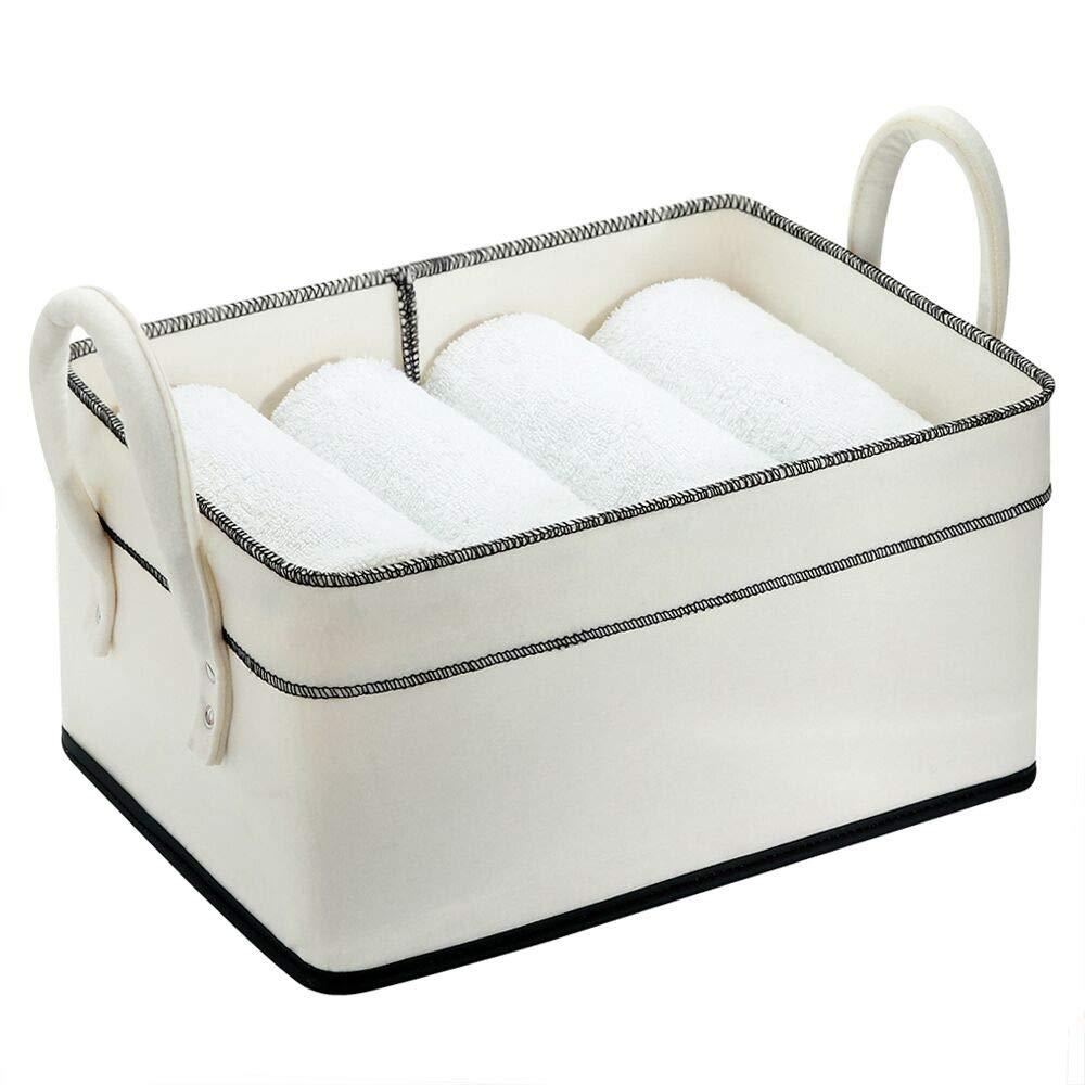Storage Basket Blanket Bin Collapsible Hamper Clothes Basket for Pantry Cute Basket for Living Room,Playroom,Bedroom, Office White Bin