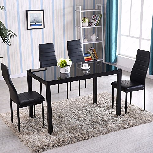 Kissemoji Dining Table Set Modern Furniture 4 PU leather Chairs Glass Metal Rectangle Table for Kitchen Room Breakfast