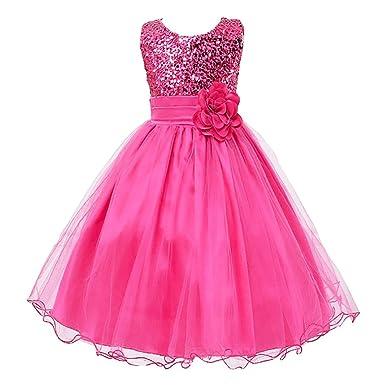 d875388f52f4d4 LSERVER Enfant Fille Paillette Fête Fleur Robe de Cérémonie Mariage Bal  Banquet Tulle