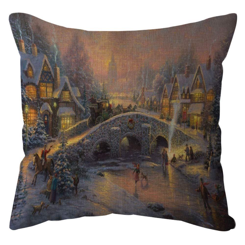 Pgojuni Home Decorative Throw Pillow Case Waist Cushion Throw Cotton Linen Pillow Case Sofa/Couch 1pc 45X45 cm (E)