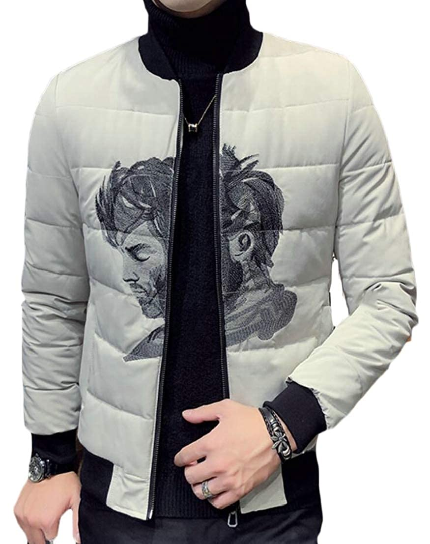 Generic Mens Stylish Slim Fit Baseball Printing Padded Thick Down Jacket Coat