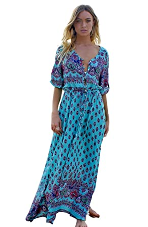 tout neuf 5bbdb d311b YAANCUN Femmes Robe Plage Longue Sexy Col V Manches 3/4 Robes Imprimé  Casual Voyage
