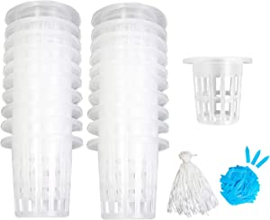 Garden Plastic Net Cups,50 Pcs 2 Inch Heavy Duty Wide Lip Planting Basket Net Pots Set, with 50 Self-Watering Capillary Water Wick and 100 Plant Labels for Hydroponics Orchid Garden (Set 1)