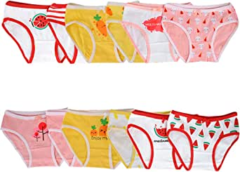 Nightaste Toddler Girl's Cotton Underwear Little Kids Panties Assorted Pack of 12 Briefs fits 2-10 Years