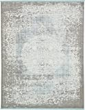 Unique Loom New Classical Collection Traditional Distressed Vintage Classic Light Blue Area Rug (8′ x 10′)