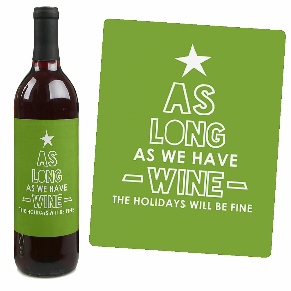 Big Dot of Happiness Be Merry Snowflake Holiday and Merry Christmas Party Decorations for Women and Men Set of 4 Wine Bottle Label Stickers