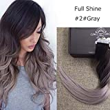 "Fshine 22"" Tape in Hair Extensions Remy Human Hair Balayage Ombre Hair Extensions Color#2 Fading to #grey(with a little purple) Dip Dyed Ombre Hair Extensions 50g 20 Pcs/Package"