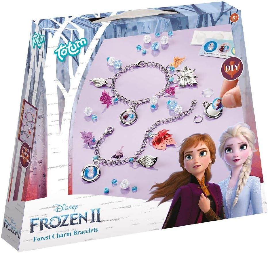 Frozen II Disney Juego de Pulseras de Abalorios con Hojas Plateadas, Perlas y Pegatinas de Anna y Elsa