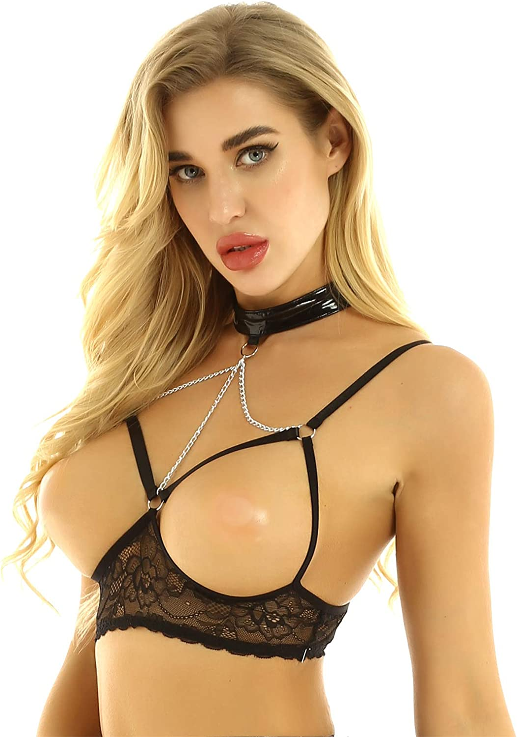 ACSUSS Womens Lingerie Halter Neck Sleeveless Bare Exposed Breasts Shelf Bra Tops with Metal Chains