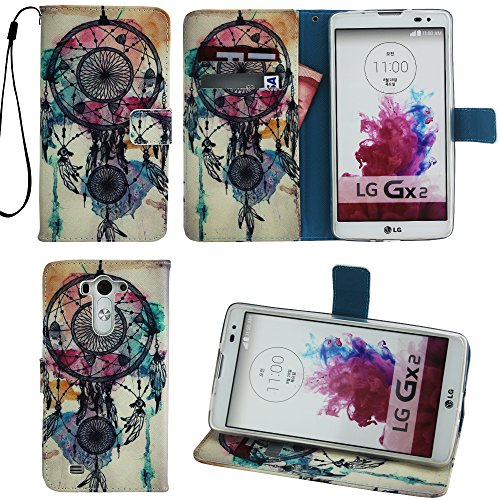 LG Vista Wallet Case, LG G Vista Leather Case, Harryshell(TM) Dream Catcher Pattern Wallet Folio Leather Flip Case Cover With Credit Card Id Holder Wrist Strap for LG G Vista Vs880 (Lg G Vista Wallet Phone Case compare prices)